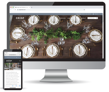 The Crisp Event Rental website on desktop and mobile